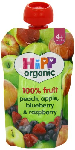 HiPP Organic From 4 Months Peach Apple Blueberry and Raspberry Fruit Pouch 100 g (Pack of 2, Total 10 Pouches)