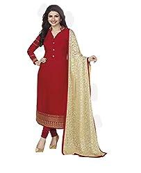 Maroon Coloured Georgette Designer Embroidered Salwar Suit