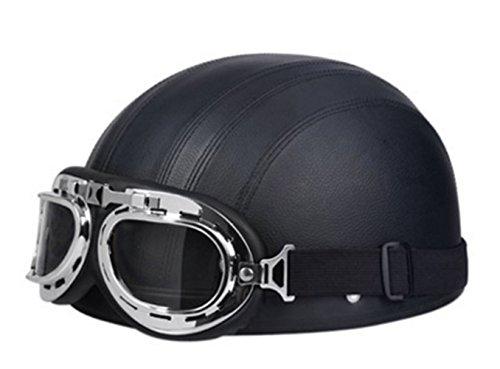 Brown Synthetic Leather vintage Motorcycle Motorbike Vespa Open Face Half Motor scooter Helmets & Visor & Goggles For Men Women (Black)