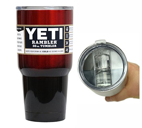 YETI Coolers 30 oz (30oz) Stainless Steel Custom Rambler Tumbler Cup with Exclusive Spill Proof and Resistant Lid (Red Black Ombre Fade)