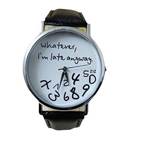 lettera di donne orologi, FEITONG pelle qualunque ritardo sono comunque Guarda (Nero)