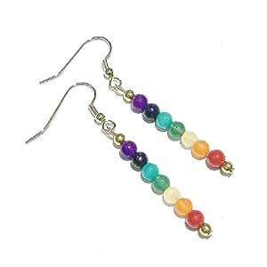 Semi-precious Chakra / Meditation Drop Earrings - Gold