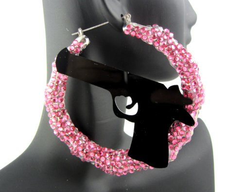Bling Basketball Wives Poparazzi Rihanna Gun Inspired Spangle Round Hoop Earring Pink (Two Side Full W/Stones)