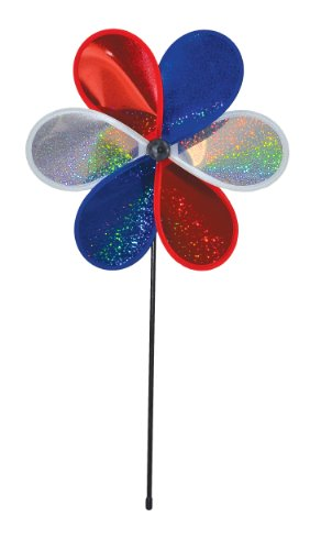 In the Breeze 6-Petal Mylar Patriot Sparkle Flower Spinner, 12-Inch