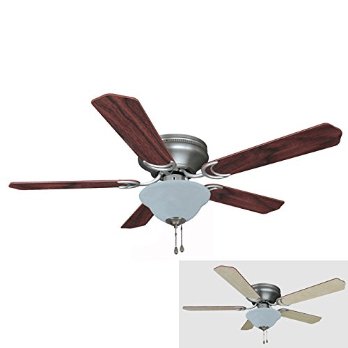 Hardware House 19-1142 Satin Nickel 52-Inch Flush Mount Ceiling Fan with Bowl Light Kit, Cherry or Light Maple Blades (Silver Flush Mount Ceiling Fans compare prices)
