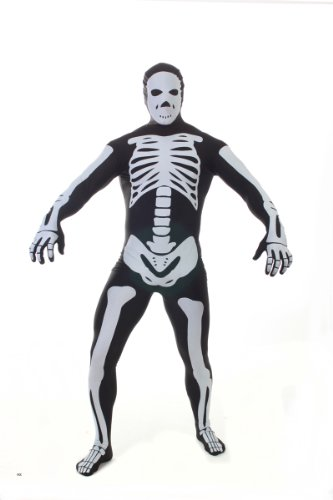 Morphsuits Men's Skeleton Adult, Black, Medium