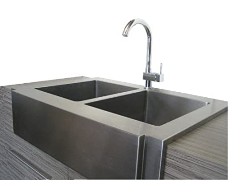 Farmhouse Sink 36 Inch White : 36 Inch Stainless Steel Flat Front Farmhouse Apron Kitchen Sink 50/50 ...