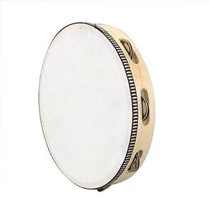 "SODIAL(R) 10"" Musical Tambourine Tamborine Drum Round Percussion Gift for KTV Party"