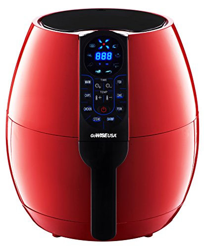 GoWISE USA 8-in-1. Electric Air Fryer Digital Programmable Cooking Settings (3.7 QT, Red 2.0)
