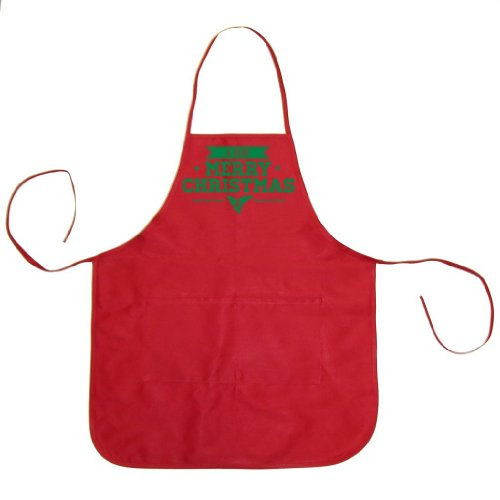 Festive Threads A Very Merry Christmas Unisex Chef Apron (Red, One Size)