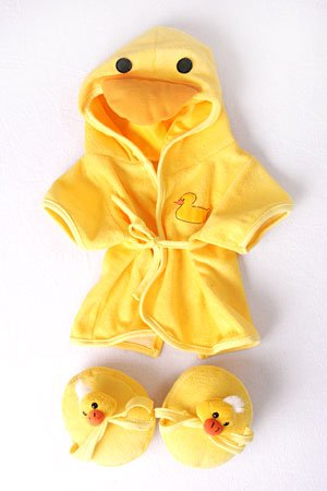 "Duck Robe & Slippers Pajamas Outfit Teddy Bear Clothes Fit 14"" - 18"" Build-A-Bear, Vermont Teddy Bears, and Make Your Own Stuffed Animals"