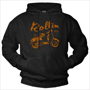 Scooter Hoodies for Men ROLLIN 60`s Hooded Sweats Black XXL