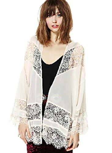 Superbaby Women Sheer Boho Flare Sleeve Lace Kimono Cardigan Jacket front-903559