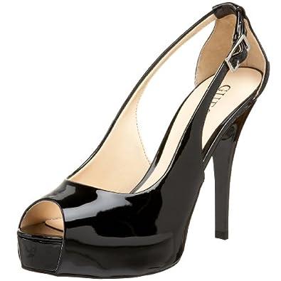 GUESS Women's Hondo3 Peep-Toe Pump,Black Patent,8.5 M US
