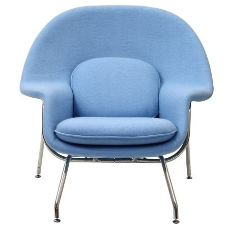W Lounge Chair and Ottoman Set in Baby Blue