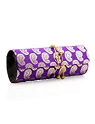 Voylla Voylla Dholki Clutch Featuring Purple Brocade Decorated With Gold Paisley Design