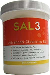 4 Pack- SAL3 Cleansing Bar - in special Suds Jar + 3 replacement soap bars - 3% salicylic acid, 10% sulfur made by SAL3