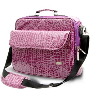 "15 16 17"" purple crocodile print Laptop Notebook Case Travel Bag Waterproof UK from Surepromise"