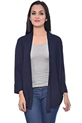 Frenchtrendz Navy Viscose Crepe Shrug