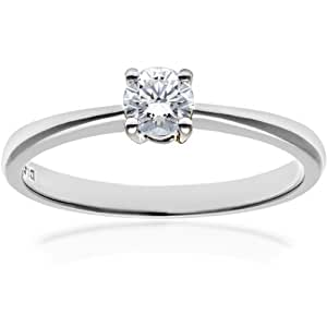 Naava 18ct White Gold Engagement Ring, IJ/I Certified Diamond, Round Brilliant, 0.25ct, White Gold, J