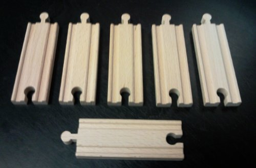 "(6) 4"" Straight Train Tracks Fit Thomas Wooden Railway and Brio Sets and Trains"