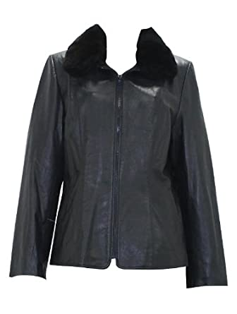 Bergama Butter Soft Lamb Leather Jacket with detachable Rex Rabbit Collar - XX-Large - Navy