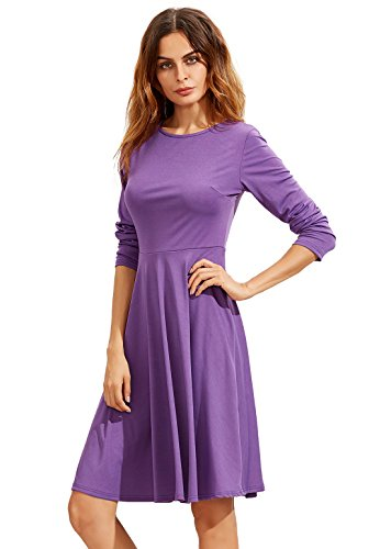 SheIn Women's Long Sleeve Casual Slim Fit Flare Skater Dress Small Purple (Daphne Costume)