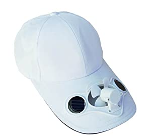 solaration fan hat solar powered white