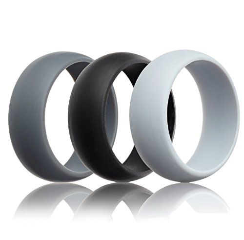 Mens Silicone Wedding Ring Wedding Band - 3 Rings Pack - 8.7mm Wide (2mm Thick) - Black, Gray, Light Gray (10)