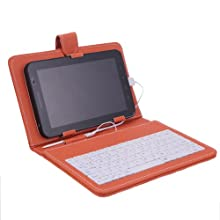 HDE Hard Cover Case With Keyboard For 7 Tablet - Orange