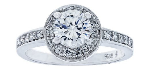 Platinum Plated Sterling Silver Clear Round Cubic Zirconia Ring, Size 7
