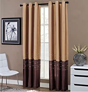Horizon grommet top curtain panel 50 w x 84 l panel size home decor gold and - Amazon curtains living room ...