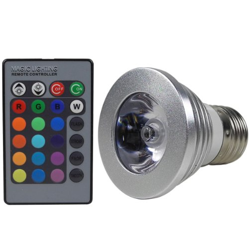 MENGS® E27 3W LED RGB Lampe Birne SMD LEDs LED farbwechsel Licht Leuchtmittel mit IR-Fernbedienung (180lm, AC 85V - 265V, 50 x 63mm) - multicolor dimmbar inklusive Infrarot - Ferbedienung