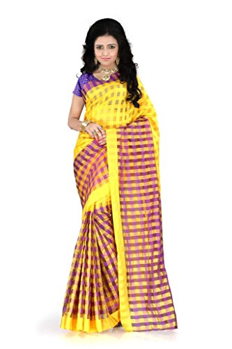 Patankarfab Checks Design Mysore Silk Golden Beauty Jacquard Blouse Sarees