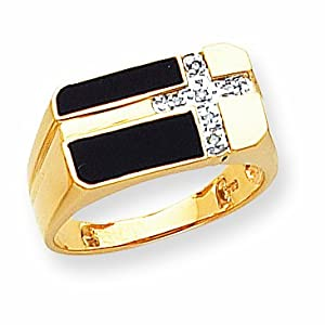 14k Onyx and Diamond Mens Cross Ring