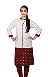 Offwhite and Maroon Printed Kurta