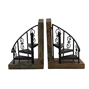 Beautiful Bronze Marris Spiral Staircase Bookend Pair