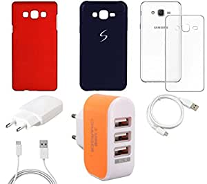 NIROSHA Cover Case Charger USB Cable car for Samsung Galaxy ON5 - Combo