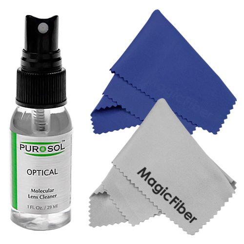 1 oz. Purosol All Natural Optical Lens and LCD Cleaner (Mist Spray Bottle) + 2 MagicFiber Microfiber Cleaning Cloths