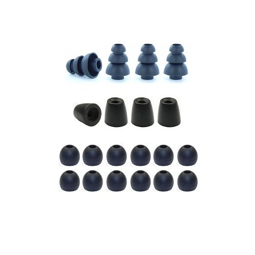 Small - Earphones Plus Brand Replacement Earphone Tips Custom Fit Assortment: Memory Foam Earbuds, Triple Flange Ear Tips, And Standard Replacement Ear Cushions (Please See Product Details For Connector Sizes)