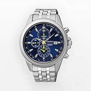 Seiko Mens Stainless Steel Chronograph Watch Blue Dial SNDF03