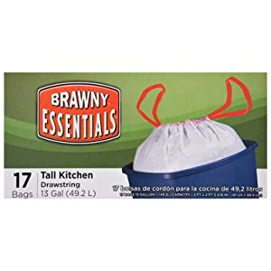 Brawny Essentials Drawstring Tall Kitchen Garbage Bags - 13 Gallon , 17 ct