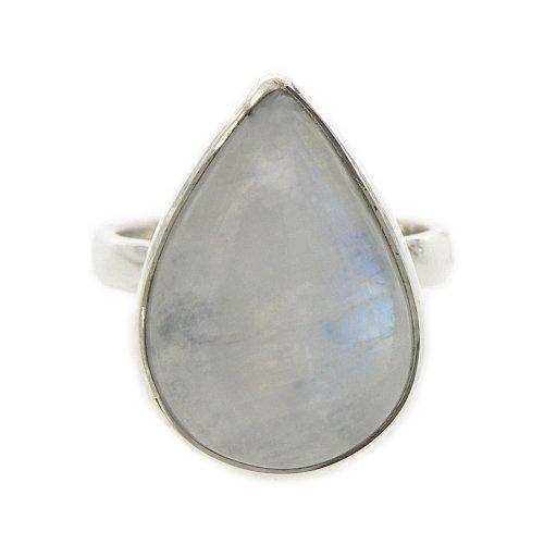 Nova Silver Bemine Medium Tear Moonstone Ring In Size N