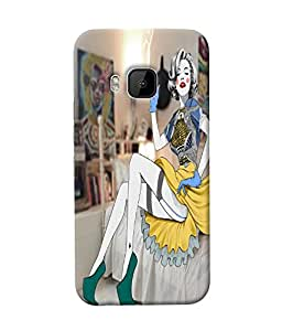 Fuson Smoking Girl Back Case Cover for HTC ONE M9 - D3998