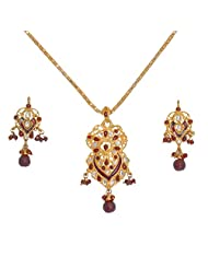 Divaz Traditional Gold, White And Red Color Necklace Set With Earring For Women - B00V521SNA