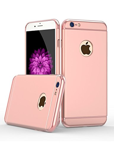 39585aa6437 Buy iPaky Chrome 3 Piece Hybrid Protective Back Case Cover for Apple iPhone  6 6S - Rose Gold on Amazon