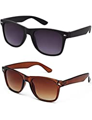 Sheomy Combo Of Black Blue Wayfarer And Brown Wayfarer Sunglasses With 2 Box (Sun-033)