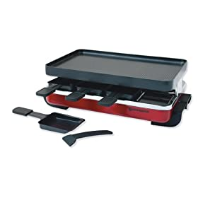 Swissmar KF-77043 8-Person Classic Raclette Party Grill, Red Enamel