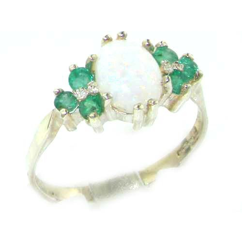 Ladies Contemporary Solid Sterling Silver Natural Opal & Emerald Ring - Size L - Finger Sizes L to Z Available - Suitable as an Anniversary, Engagement or Eternity ring