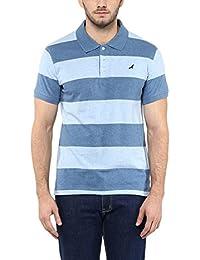 American Crew Men's Polo Stipres T-Shirt (White & Sky Blue Melange)